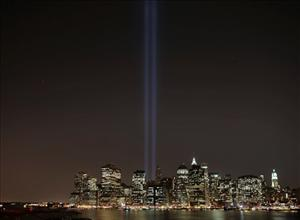 Two powerful beams of lights are tested from the World Trade Center site in preparation for the Sept. 11 Anniversary memorial Tribute in Lights, New York, Monday Sept. 8, 2008.