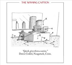 Gawker is blasting this caption chosen as the winner in the New Yorker's weekly contest picking the best cartoon caption.