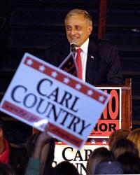 Carl Paladino speaking on stage after winning the New York State Republican Gubernatorial primary in Buffalo, NY on Tuesday, Sept. 14, 2010.