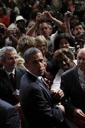President Obama greets supporters after speaking at a campaign fundraiser for Senate Majority Leader Harry Reid D-Nev.,in Las Vegas, Thursday, July 8, 2010.