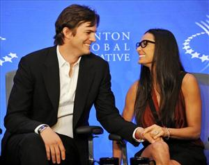 "Ashton Kutcher and Demi Moore announce the launch of the ""Real Men Don't Buy Girls"" campaign to help end child sex slavery during the Clinton Global Initiative on Thursday, Sept. 23, 2010 in New York."