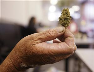 Susan Recht holds up a bud of marijuana she purchased at the San Francisco Medical Cannabis Clinic in San Francisco, Friday, Oct. 15, 2010.