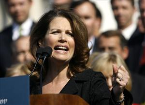 Rep. Michelle Bachmann R-Minn., addresses the crowd on Capitol Hill in Washington, Thursday, Nov. 5, 2009, during a Republican health care news conference.