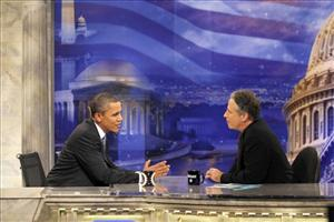 In this Oct. 27, 2010 file photo, President Barack Obama gestures during a commercial break as he talks with Jon Stewart in a taping of Comedy Central's The Daily Show with Jon Stewart.