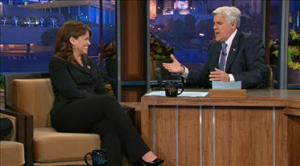 Jay Leno interviews Christine O'Donnell on the Tonight Show.