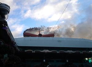 This image shot Monday Nov. 8, 2010 shows smoke coming from the engine compartment of the crippled cruise ship, Carnival Splendor, off the coast of Mexico.