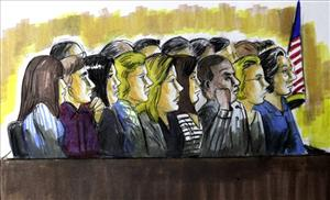 A courtroom sketch of jurors in the Rob Blagojevich trial. Because it was a federal trial, they were given anonymity.