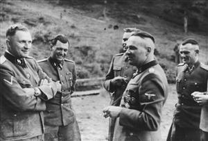 SS officers socializing in their retreat at Solahutte outside of Auschwitz, Poland in 1944.