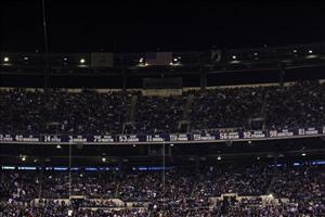 An eerie darkness descends on a packed Meadowlands stadium in East Rutherford, NJ, yesterday during a game between the New York Giants and Dallas Cowboys.