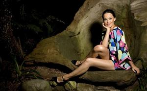 Dasha Astafieva, of the Ukraine, a 55th Anniversary Playmate, poses for a portrait in the redwood forest at the Playboy Mansion in Los Angeles on Friday, Dec. 5, 2008.