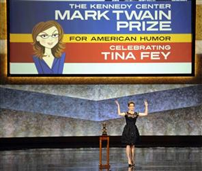Tina Fey makes remarks after being awarded the Mark Twain Prize for American Humor at the Kennedy Center in Washington, Tuesday, Nov. 9, 2010.
