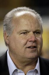 In this Jan 18, 2009, file photo, talk show host Rush Limbaugh is interviewed on the sidelines before the start of the NFL AFC championship football game in Pittsburgh.