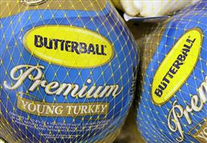 Butterball frozen turkeys are seen on display at Heinen's grocery store in Bainbridge Twp., Ohio.