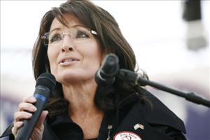 Sarah Palin speaks at a campaign event last month.