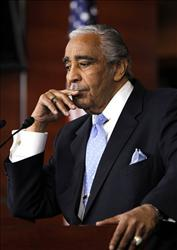 Rep. Charles Rangel, D-N.Y., speaks to the media after he was censured by the House.
