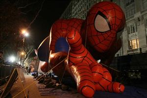 The Spiderman balloon lies on the ground before the Macy's Thanksgiving Day Parade in New York last month.