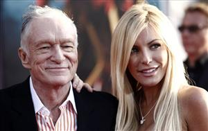 Hugh Hefner and fiancee Crystal Harris arrive at a premiere in Los Angeles.
