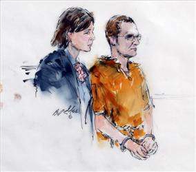 In this artist rendering, Jared Lee Loughner, right, makes a court appearance with his lawyer, Judy Clarke, in Phoenix on Monday, Jan. 24.