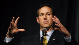 Rick Santorum speaks at the Iowa Renewable Fuels Summit on Jan. 25.