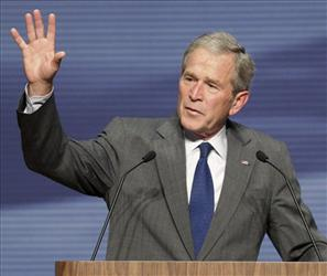 Former President George W. Bush gives a Veterans Day address, Thursday, Nov. 11, 2010, at the National Museum of the U.S. Air Force in Dayton, Ohio.