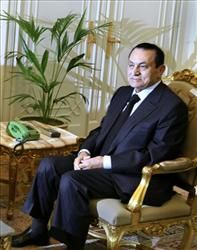 Egyptian President Hosni Mubarak looks on at his office at the Presidential palace in Cairo, Egypt, in this Wednesday, Feb. 9, 2011 file picture.