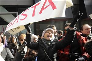 Bata! said protesters holding up signs near Times Square in New York yesterday.