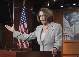 Nancy Pelosi gestures during a news conference, Friday, Feb. 18, 2011, to counter the plans of John Boehner and Republicans to cut the spending for the current budget year.