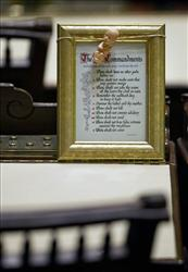 A framed copy of the Ten Commandments sits on the desk of State Sen. Bobby Franklin following a legislative session at the Georgia Capital, Thursday, Jan. 27, 2011 in Atlanta.