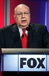 In this July 24, 2006 file photo, Roger Ailes, chairman and chief executive officer of Fox News, speaks during the Summer Television Critics Association Press Tour in Pasadena, Calif.