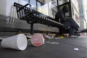 Used Styrofoam cups are seen on the streets on January 1, 2007 in Oakland, California ... not Washington, DC.