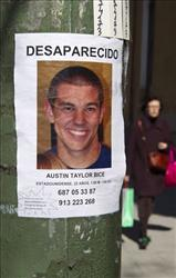 A poster of Austin Bice, stuck to a lamppost in Madrid, Sunday, March 6, 2011. Police, family and friends have stepped up a search for the missing San Diego State University exchange student.