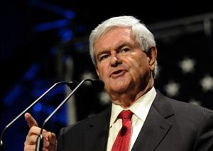Former House Speaker Newt Gingrich speaks at the Iowa Faith & Freedom Coalition Event Waukee, Iowa, yesterday.