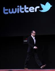 The chief executive officer of Twitter, Dick Costolo, arrives to speak on February 14, 2011 during the opening of the 3GSM World Congress in Barcelona.