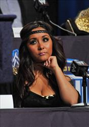 Television personality Nicole 'Snooki' Polizzi attends the WrestleMania XXVII press conference at Hard Rock Cafe New York on March 30, 2011 in New York City.
