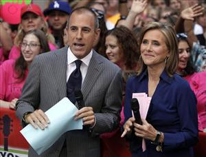 In this Aug. 6, 2010, file photo, Matt Lauer and Meredith Vieira, co-hosts of the NBC Today program, are shown during a broadcast in New York.