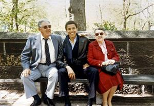 This photo released by Obama for America shows Barack Obama with his grandparents, Stanley Armour Dunham and Madelyn Lee Payne Dunham, during a visit when Obama was at Columbia University.