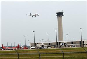An air traffic control tower is seen in Memphis.