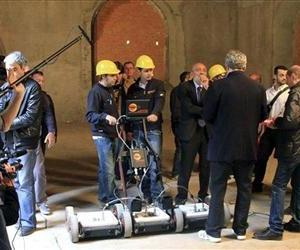 Researchers use a geo-radar device to search underground tombs in a Florence convent, Italy, Wednesday, April 27, 2011.