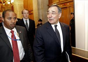 CIA Director Leon Panetta, right, leaves after briefing members of Congress on Capitol Hill Tuesday, May 3, 2011 in Washington.