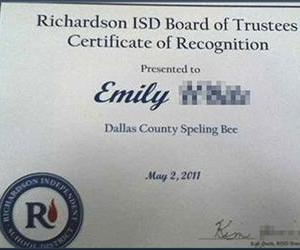 Emily White was moved to post this photo online, after receiving this certificate for her dominant performance in the Dallas County Speling Bee. She has won the contest three of the past five years.