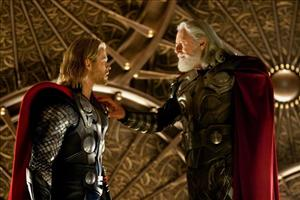 Chris Hemsworth and Anthony Hopkins are shown in a scene from the film, Thor.