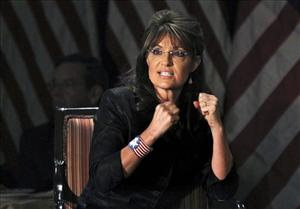 In this Feb. 17 photo, Sarah Palin answers questions at a public appearance in Woodbury, NY.