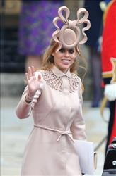Princess Beatrice of York leaves the Abbey following the big wedding. That hat can be yours.