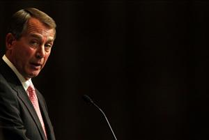 House Speaker John A. Boehner (R-Ohio) addresses the Economic Club of New York on May 9, 2011 in New York City.