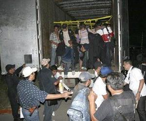 Migrants from Latin America and Asia leave a truck that was heading to the US after being detected by X-ray equipment.
