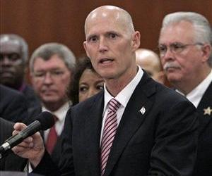 Florida Gov. Rick Scott speaks at a news conference in Tallahassee, Fla in this March 28, 2011 file photo.