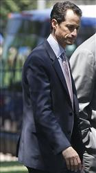 Rep. Anthony Weiner, D-N.Y., arrives with other House Democrats at the White House in Washington, Thursday, June 2, 2011.