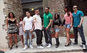 (L to R) Sammi Gianicola, Deena Nicole Cortese, Ronnie Ortiz Magro, Mike Sorrentino, Paul DelVecchio, Nicole Polizzi, Jenny Farley and Vinny Guadagnini on May 19, 2011 in Florence, Italy.