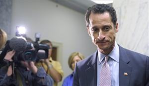 Rep. Anthony Weiner, D-N.Y., waits for an elevator near his office on Capitol Hill in Washington, Thursday, June 2, 2011.