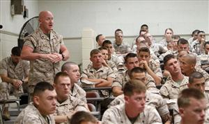 United States Marine Sgt. Jay Milinichik asks a question during a training session to familiarize Marines with the military's new position on gay and lesbian service members.